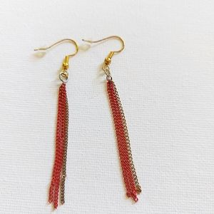 3/$30 Red And Gold Chainmail Earrings